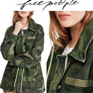 M Free People Camo Military Jacket M OB980139